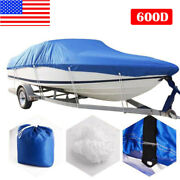 20-22ft 600d Oxford Fabric Waterproof Boat Cover For V-hull Runaboutsandbass Boats