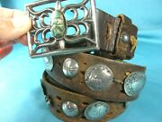 Rare Antq Navajo Coin Silverstamped Conchos And Sand Cast Green Turquoise Belt