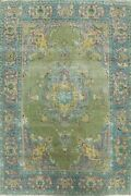 Antique Kashmar Floral Handmade Wool Area Rug Moss Green Oriental 8and039x11and039 Carpet