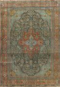 Antique Overdyed Tebriz Evenly Low Pile Hand-knotted Area Rug Wool Oriental 9x11