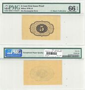 1st Issue 5 Cents Fractional Currency Proof Fr 1231 Sp Pmg Gem Unc-66 Epq