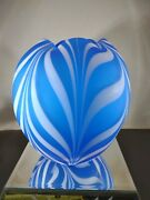 Scarce Fenton Barber Fetty Satin Blue And White Pulled Feather 8 Vase