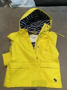 Abercrombie And Fitch Yellow Rain Coat Jacket W Blue Stripe Lined Interior Size S