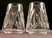 Pair Of Waterford Crystal Globe Candle Or Oil Lamp Shades - 3 5/8 - Mint