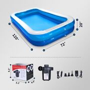 120 Inch Inflatable Above Ground Swimming Pool Kids Rectangular Pools With Pump