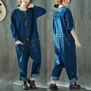 Womenand039s Denim Jumpsuit Ripped Rompers Harem Jeans Pants Overall Long Sleeve
