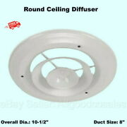 Ceiling Ac Diffuser Round White Steel 8 Duct Size Cover Cool Air Vent Airflow