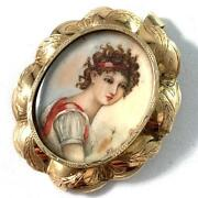 19th Very Charming Antique Victorian 14k Gold Miniature Painting Brooch Pendant