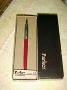 Parker Jotter Ballpoint Pen Burgundy Red Made In Usa Brass 78032 New In Box