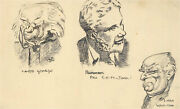 Charles W. Mann B.1925 - 1944 Selection Of Pen And Ink, Political Caricatures
