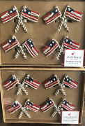 Napkin Rings Beaded Flags 8 Pc Set 4th Of July Patriotic Americana Napkin Rings