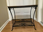 Longaberger Wrought Iron Library Table W/ Shelf - Rich Brown
