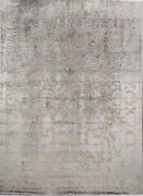 Vegetable Dye Carved Gray Peshawar-chobi Hand-knotted Oriental Area Rug 8and039x10and039