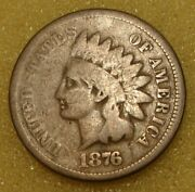 1876 Indian Head Cent Penny Coin G-vg