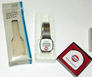 Vintage Gulf Digital Quartz Watch And Tape Measure By Lufkin Unused In Boxes Gas