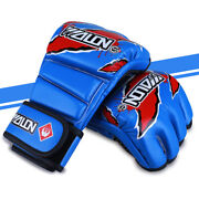 1 Pair Half Finger Wrist Protect Fighting Pu Leather Boxing Gloves Training