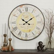 Large Wall Clock Antique Design Large Roman Numeral Vintage Time Hands Battery