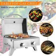 Tabletop Stainless Steel 2-burner Gas Grill Bbq Grid W/foldable Leg For Camping