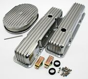 58-86 Sbc Chevy 327 Finned Retro Polished Aluminum Valve Covers 12 Air Cleaner