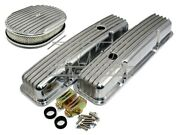 58-86 Sbc Chevy 327 Finned Retro Polished Aluminum Valve Covers W/ Air Cleaner