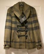Brit Aniseed Green Olive Checkered Toggle Coat Size 6