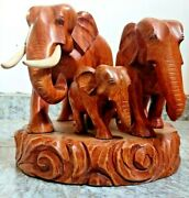 Wooden Pack Of 3 Elephants Hand Carve Amber Figurine Natural Brown Home Art Deco
