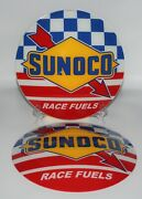 Sunoco Race Fuels - 13.5 Gas Pump Globe Glass Faces Set Of Two