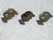 Lot Of 3 Street Rod Master Cylinders Cast Iron Universal Gm 3/8 For Parts Repair