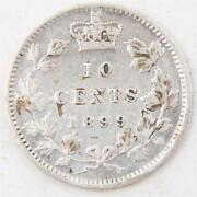 1899 Canada 10 Cents Large 9s Vf+ Details Cleaned