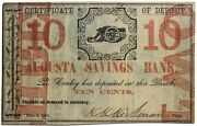 December 2nd 1861 Augusta Savings Bank Georgia 10 Cents Obsolete Note