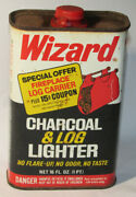 Vintage 1972 'wizard' Western Auto Charcoal And Log Lighter Fluid Empty Metal Can