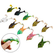 10 Pcs Double Propellers Frogs Bait 3d Eyes Soft Silicone Fishing Frog Lures