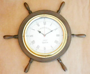 Antique Vintage Collectible Wooden Decorative 16 Wall Clock Ship's Wheel Style