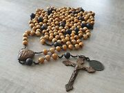 Antique Rosary 10 X 15 Beads With Heart Shaped Center Piece Lourdes