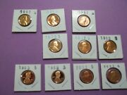 Lot Of 10 S Proof Lincoln Cents Dates From1960-2008 From Proof Sets Lc29