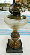 Antique Peg Lamp With Etched Glass Font No. 2 Queen Anne Burner Embossed 2819