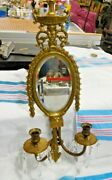 Antique Cast Brass Pierced Ornate Double Candle Holder With Mirror  2817
