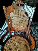 Antique Victorian Carved Ornate Rocking Chair With Cane Seat And Back