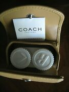 New Coach Leather Travel Contact Lens Case Mirror Tan Dust Bag Booklet Eye Care