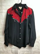 1849 Authentic Ranchwear Womens Shirt Red Black Western Rodeo Cowgirl Usa - S