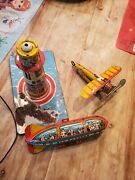 Vintage Unique Art Tin Lithographed Sky Rangers Wind Up Plane And Zeppelin