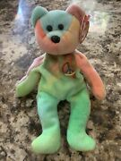 Ty Peace Beanie Baby Bear - Rare - Excellent Condition - 0008421040537