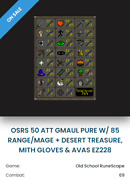 Old School Runescape Account - Hand Trained/no Email/dt,mg-gmaul Pure-avas-osrs