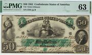 T-6 Pf-1 50 Confederate Paper Money 1861 - Pmg Choice Uncirculated 63