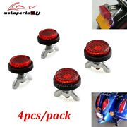 4pcs Red Tag Reflectors Motorcycle License Plate Reflective Caps Bolts Fasteners
