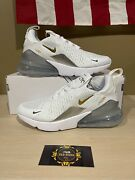 Nike Womens Air Max 270 Metallic Gold/silver Womenand039s Size 6-11 Brand New
