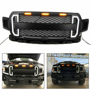 Front Bumper Grill Grille For 2018-2019 F150 F-150 With Amber Led Lights