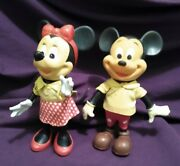 Vintage Dakin Mickey And Minnie Mouse W/clothing Tags Shoes Head Wrap Complete Wdp