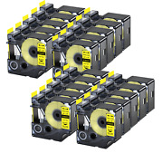 20pk 18433 Vinly Label Tape For Dymo Rhino 5200 6000 Black On Yellow 3/4 X 18and039
