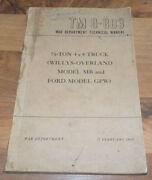 Tm 9-803 1/4 Ton 4x4 Truck Manual_willys Overland Jeep Mb/ford Gpw_ww2 Us Army